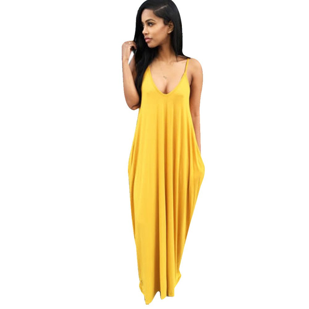 iLUGU Deep V Neck Sleeveless Maxi Dress for Women V-Backless Plus Size Skater Dress Yellow