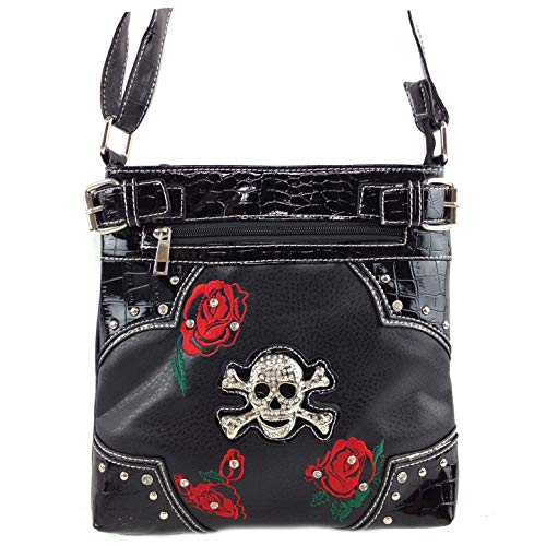 Justin West Embroidery Roses Floral Rhinestone Skull Tote Shoulder Concealed Carry Handbag Messenger Purse (Black Rose) (Embroidery Rose Tote)