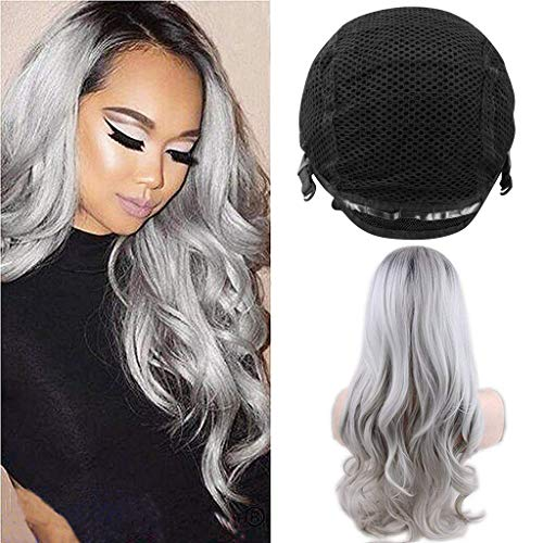 Euone Sexy Gradient Gray Party Wigs Long Curly Hair Mixed Colors Synthetic Wig