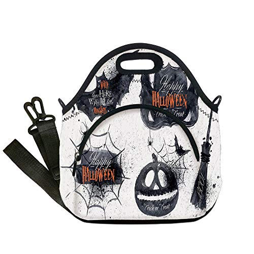 Insulated Lunch Bag,Neoprene Lunch Tote Bags,Vintage Halloween,Halloween Symbols Happy Holiday Witch Lives Here Broomstick Spider Web Decorative,Black White,for Adults and children