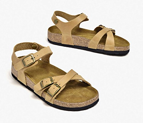 Beach Women's Strap Belt apricot Leather Buckle Honeystore Shoes Sandals Flats for ZgzxRS4qw