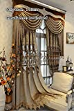 TIYANA Brown Cloth Embroidery Chenille Curtains with Grommets for Villa 96 inch Long Luxury Royal Design Custom Made Embroidered Curtains Extra Wide for Living Room, 1 Piece, 145×96 inch Review