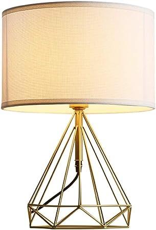 &Luz para Leer Lámpara de Mesa escandinava Cobre del Estilo Simple de la Sala Dormitorio de la lámpara de Noche Forma Diamante Tabla lámpara de Estudio Lámpara de Noche: Amazon.es: Hogar