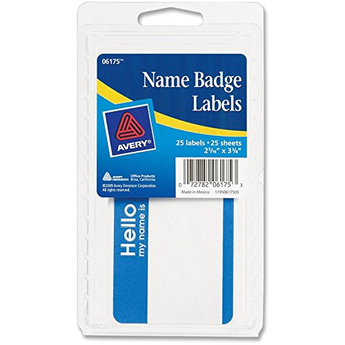 Avery Name Badge Label, 2.34' Width x 3.38' Length - 25 / Pack - Rectangle - Blue