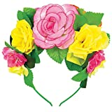 Amscan Summer Deluxe Floral Forehead Band Hawaiian Beach Luau Costume Dress Up Party Headwear Accessory, Fabric, 11'' x 8''.