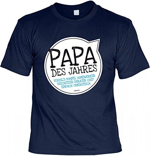 T-Shirt Vater - Papa des Jahres - Geschenk Idee mit Humor zum Vatertag oder Geburtstag - navyblau