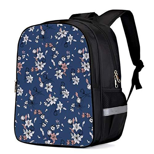 Retro Flannel Flower Hand Painting Kids School Backpacks for Girls Boys,Cool Shoulder Backpack Casual Book Laptop Bag,16.1