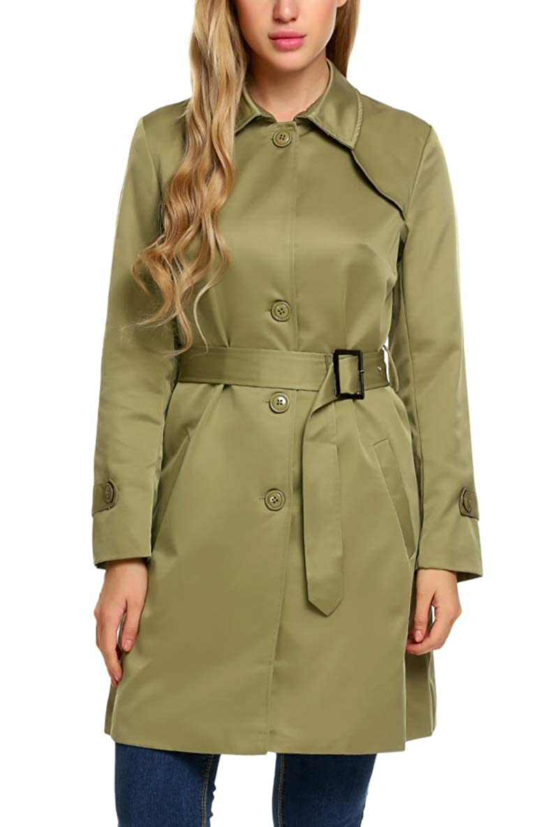 ELESOL Women's Long Sleeve Single-Breasted Long Trench Coat with Belt
