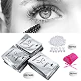 3×100 Packs- Under Eye Pads Lint Free Lash Extension Eye Gel Patches & Eyelash Mascara Brushes Wands Applicator Makeup Brush & Nail Art Tattoo Glue Rings Holder Eyelash Extension Rings Beauty Tools