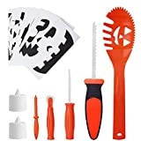 SKINOSM Pumpkin Carving Kit for Kids 5 Easy Halloween Pumpkin Carving Tools Set 2 LED Candles & Carving Templates