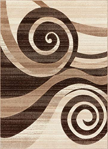 Well Woven Desert Swirl Brown & Beige Modern Geometric Comfy Casual Spiral Hand Carved Area Rug 4x5 4x6 (3'11