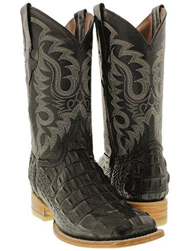 Team West - Men's Black Crocodile Back Print Leather Cowboy Boots Square Toe 11.5 D(M) US