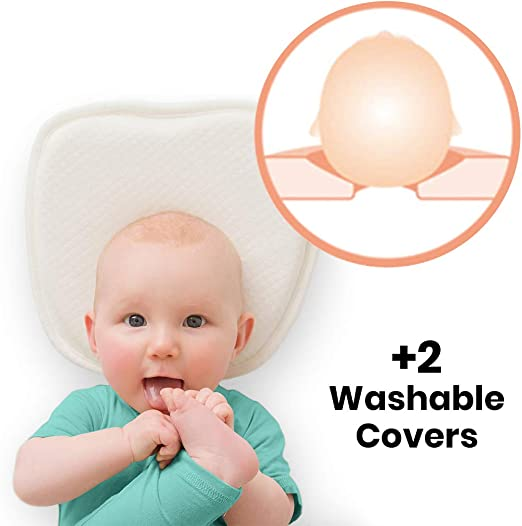 Baby Pillow for Sleeping Prevent Flat Head for Newborn Washable with Neck Support White