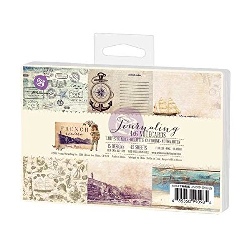 """Prima Marketing 990985 Double-Sided French Riviera Journaling Cards (45/Pack), 4"""" by 6"""", Multicolor"""