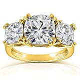 Cushion-cut Moissanite Three-Stone Engagement Ring 5 CTW 14k Yellow Gold, FG/VS