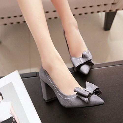 Charm Foot Womens Fashion Archi Pesanti Scarpe A Punta Tacco Alto A Punta Grigia