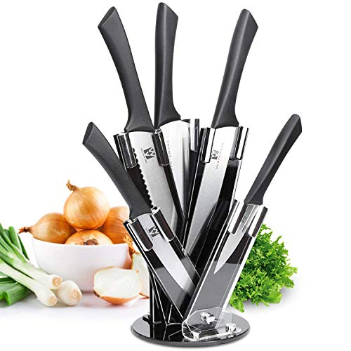 Vestaware Knife Set with Block,6-Piece Kitchen Knife Set with 8