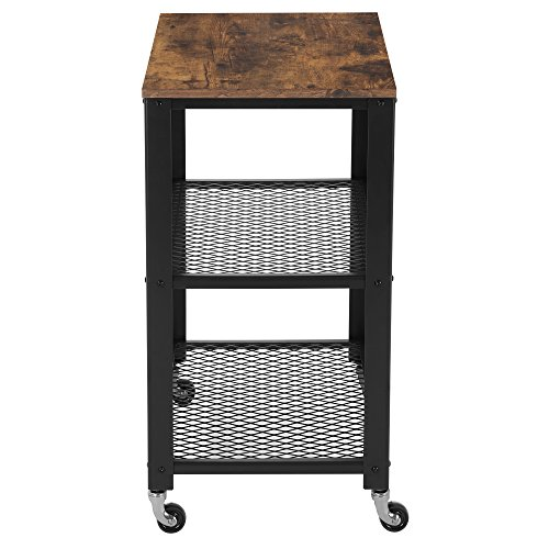 SONGMICS Rustic 3-Tier Serving Cart and Rolling Utility Storage Organizer for Kitchen and Living Room ULRC78X
