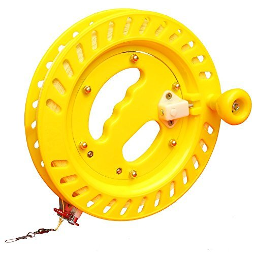 Tire Fishing Game - Hengda Kite Reel For Big Kites LED kites Professional Reel Winder with Strong Kevlar Line 9 inch Diameter with 1,000 FT-Yellow