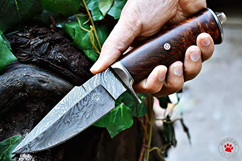 - Custom Handmade Hunting Knife Bowie Knife Damascus Steel Survival Knife EDC 10'' Overall Walnut Wood with Sheath