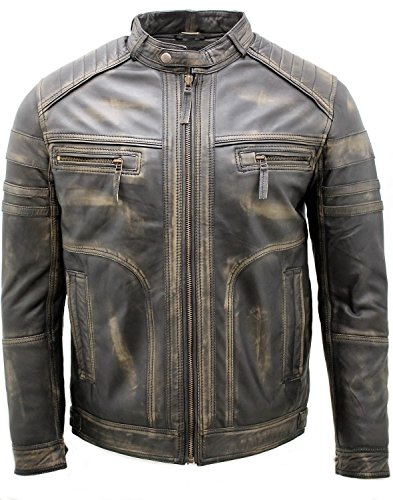 Mens Vintage Black Leather Jacket - 6