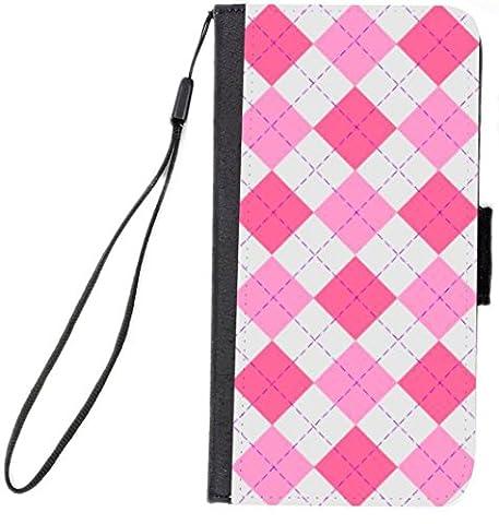 Rikki Knight Premium PU Wallet Flip Case with Kickstand & Magnetic Flap for iPhone 7 - Pink Argyle on - Argyle Purse