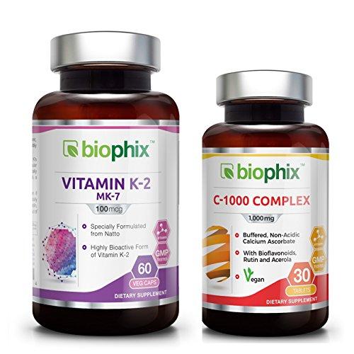 - Vitamin K2 MK-7-100 mcg 60 Vcaps - Free Vitamin C-1000 - Strong Bones | Immune Health | Support for D3