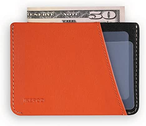 Ikepod Micro Slim Card Wallet [ Italy Made // Top Leather] Both for Men and Women [RFID Blocking and Slim Stitching]
