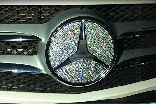 Boobo Ice Out Front Grille Badge Bling Insert Emblem with Genuine Austrian Crystal Insert for Mercedes Benz GLC300 GLC350 GLC63 New GLC-Class (Silver)