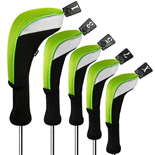 Andux Golf 460cc Driver Wood Head Covers with Long Neck and Interchangeable No. Tags Pack of 5 (Green, MT/MG36)