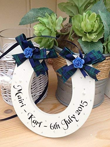 762e62d35f6 Handmade Personalised Tartan Wedding Horseshoe Keepsake Gift: Amazon.co.uk:  Handmade