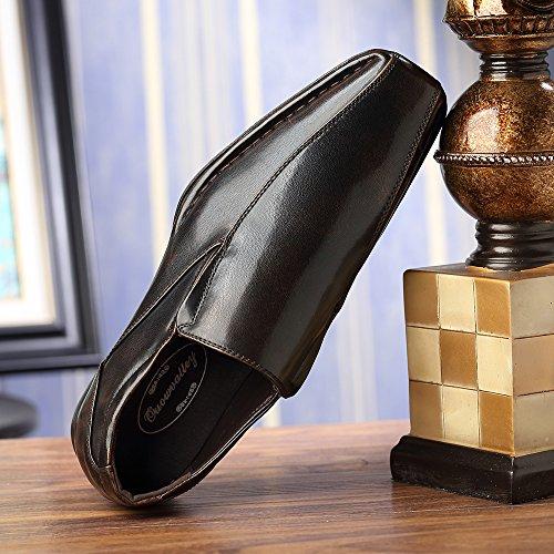 Ououvalley Klassiske Formelle Slip På Skinn Fôr Moderne Loafer Sko Ouou-004 Brun
