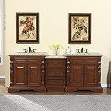 Silkroad Exclusive Bathroom Vanity Venetian Gold Granite Top Double Sink Cabinet, 90''