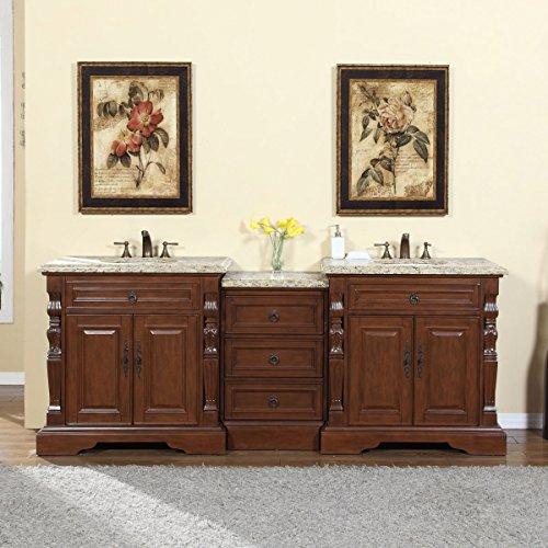 Silkroad Exclusive 90-inch Venetian Gold Granite Stone Top Bathroom Double Sink Modular Vanity