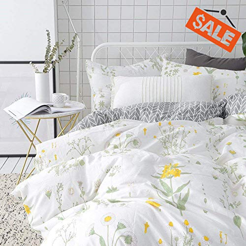 (VClife Twin Floral Duvet Cover Sets Cotton Yellow White Botanical Bedding Sets for Girl Woman -Reversible Arrow Printed Grey Bedding Collection - 3 pcs Vintage Garden Plant Style Quilt Cover Sets Twin)