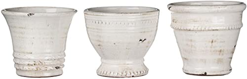 Sullivans Small White Ceramic Vase Set, Various Sizes, Distressed White, Set of 3 CM2585