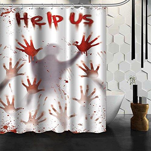 Changyun Bloody Halloween Polyester Shower Curtain - Creepy Hand Help Us Halloween Decoration Can Be Used on Doors and Walls and Bathrooms Both Inside The House and Outside 60X72 inch