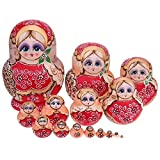 FairOnly Girls Printed Russian Matryoshka Dolls Wood Wreath Handmade Nesting Toys Craft Favorite Creative Matryoshka Nesting Doll Toy C-15pcs