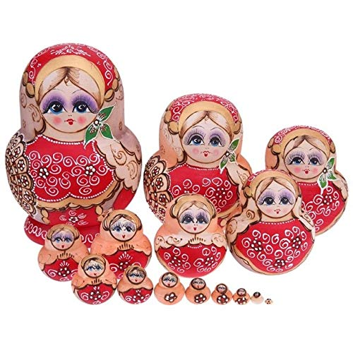 FairOnly Girls Printed Russian Matryoshka Dolls Wood Wreath Handmade Nesting Toys Craft Favorite Creative Matryoshka Nesting Doll Toy C-15pcs