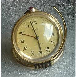 USSR Soviet Russian SLAVA 11Jewels Gold plated Desk Mechanical Alarm Clock