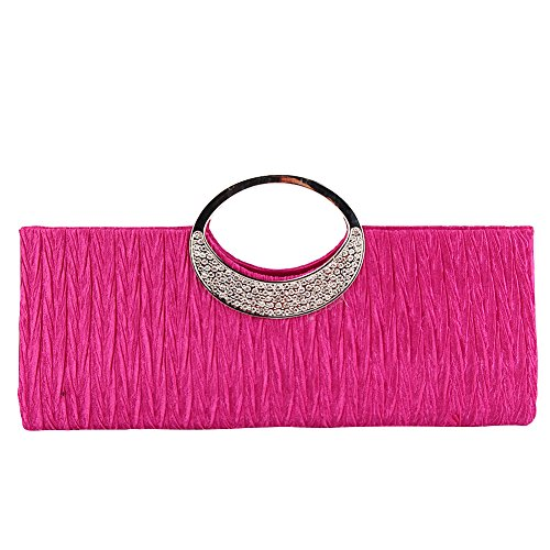 TOPCHANCES Women's Evening Party Rhinestone Satin Pleated Evening Wedding Party Clutch Purse Wallet Handbag (Rose Red)