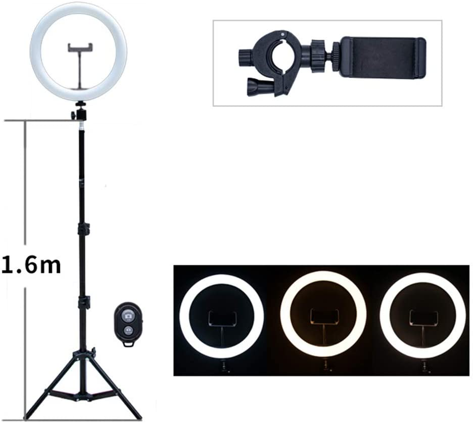 KLI Ring Light with Biult in Stand,for Selfie Makeup Camera 6inch Bluetooth Receiver-3200K-5600K,Dimmable for YouTube Streaming Portrait//Macro Photography,82.67/'/'Stand