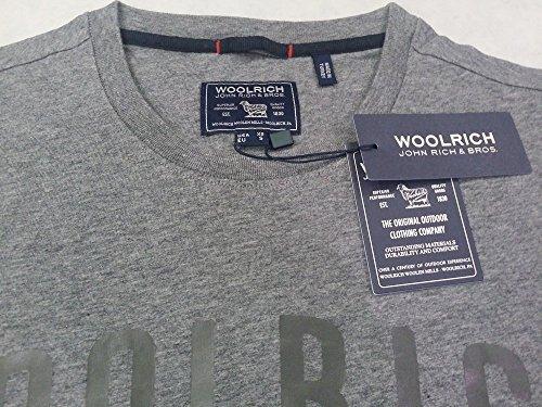 shirt Wotee1082 T 185 Woolrich Uomo Stretch Cotone Corta Fit Slim In Logo Manica Grigio ntw6Sqdqx