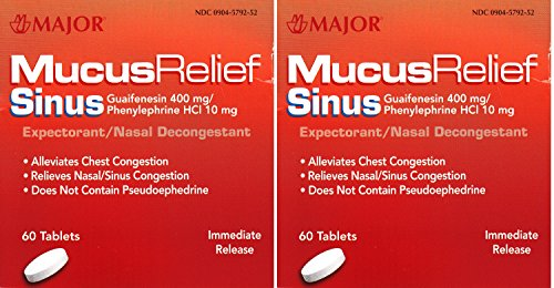 - MAJOR Mucus Relief Sinus Congestion Tablets 60 ea (Pack of 2)