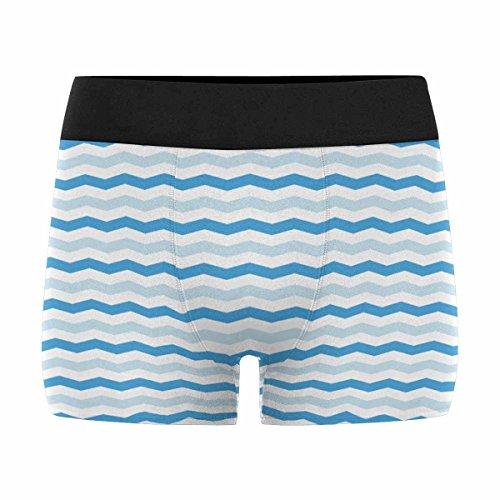 InterestPrint Boxer Briefs Men's Underwear Pattern with Blue and White Zig-Zag Lines M Zig Zag Chart