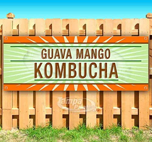 New Guava Mango Kombucha 13 oz Heavy Duty Vinyl Banner Sign with Metal Grommets Store Advertising Flag, Many Sizes Available