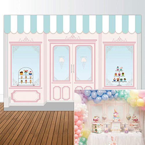 Allenjoy 7x5ft Ice Cream Parlor Shop Backdrop for Girls Baby Shower 1st First Birthday Party Sweets Table Decor Event Decorations Photo Booth Background Supplies Props Pictures Drop