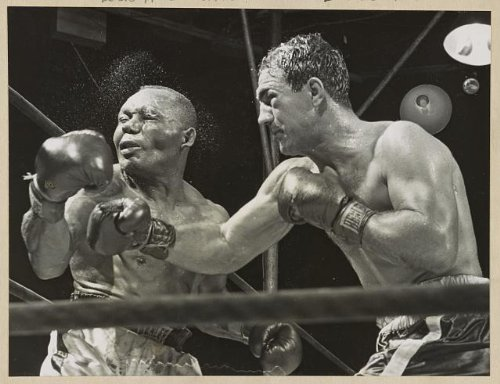 hoto: Rocky Marciano KO's Jersey Joe Walcott,boxers,knock outs,sports,athletes,1952 ()