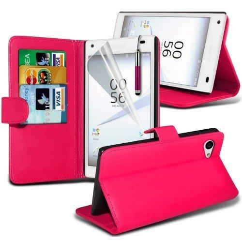 Sony Xperia Z5 Compact Cubierta del caso con cuero (Rosa caliente) Plus de regalo libre, Protector de pantalla y un lápiz óptico, Solicitar ahora mejor caja del teléfono Valorado en Amazon! By FinestP