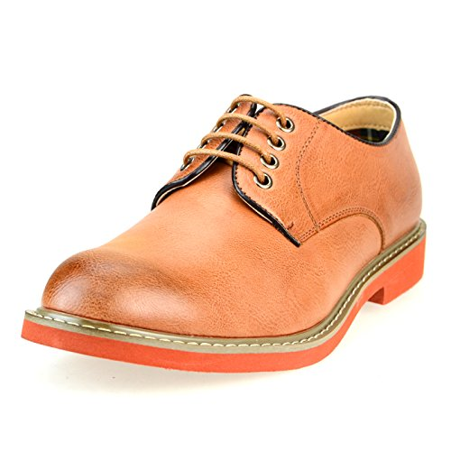 O-NINE Mens Lace-up Derby Shoes Casual Shoes Flat Round Toe Ms1300 Brown Smooth 3N995kCUm